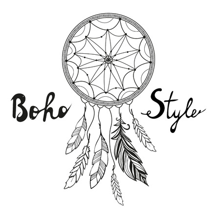 dreams: Indian Dream catcher. Boho style. Hand drawn vector illustation