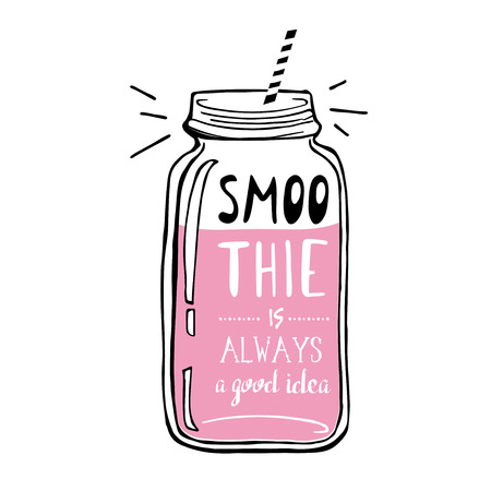 Hand drawn sketch illustration. Smoothie is always a good idea. Vector illustration