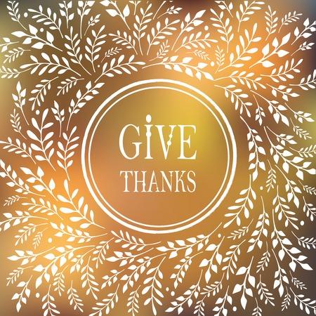 naranja: Tarjeta para el Día de Acción de Gracias con diseño floral Vectores