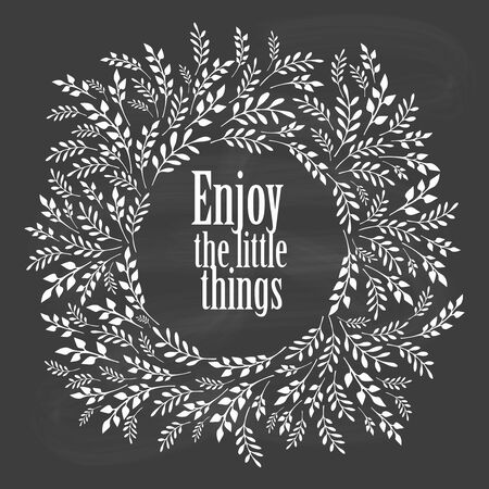 little: Enjoy the little things typography poster with floral design elements on blackboard