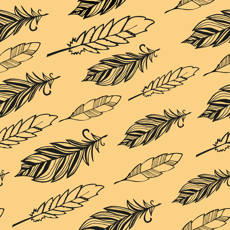 redskin: Seamless pattern. Hand drawn bird black feathers. Vector illustration