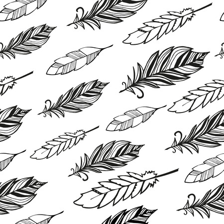 redskin: Seamless pattern. Hand drawn bird black feathers. Vector illustration