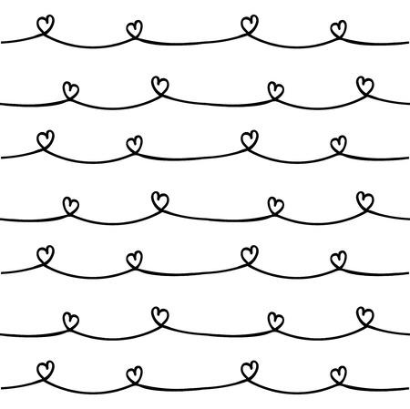 Naadloze achtergrond met de hand getekende hart patroon borstel.