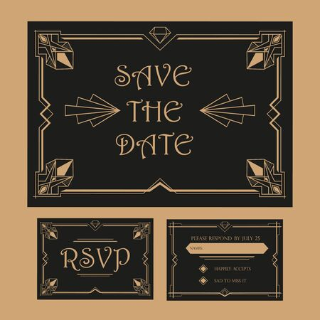 rsvp: Save the Date - Wedding Invitation Card - RSVP - Art Deco Vintage Style Illustration
