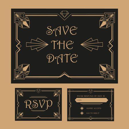 Save the Date - Wedding Invitation Card - RSVP - Art Deco Vintage Style Illustration