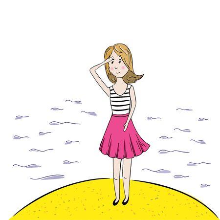 illustation: Girl looking on the sea. Hand drawn vector illustation.