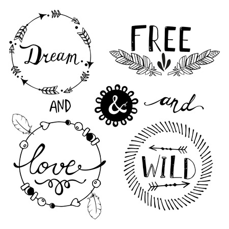 wild: Set of Boho Style Frames and hand drawn elements. Vector illustration.