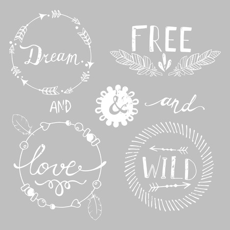boho: Set of Boho Style Frames and hand drawn elements with retro effect. Vector illustration.
