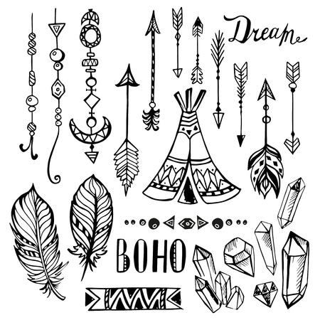 tribales: Dibujado a mano elementos de diseño étnico. colección. Conjunto de vectores con,,, inconformista, elementos boho azteca indios tribales Vectores