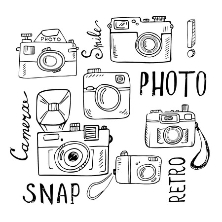 video camera: Hand drawn set of retro cameras with lettering. Vector illustration isolated on white background. Illustration