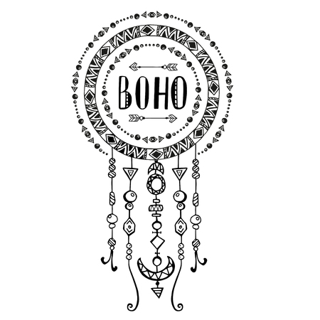 feather: Hand drawn sign in boho style with arrows and beads. Vector illustration isolated on white.