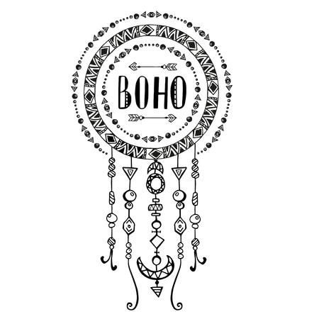 stile: Mano segno disegnato in stile bohemien con le frecce e perline. Illustrazione isolato su bianco.