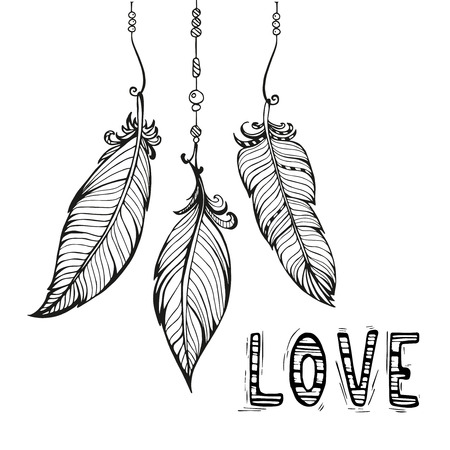 beads: Vector hand drawn poster with feathers and beads. Bohemian style.