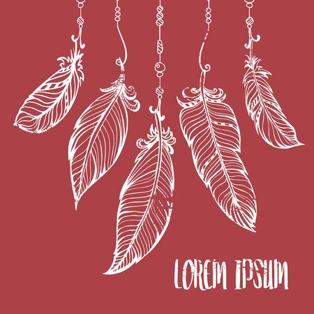 bohemian: Vector hand drawn poster with feathers and beads. Bohemian style.