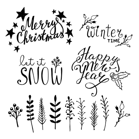 let on: Set of Christmas hand drawn graphic elements on white background