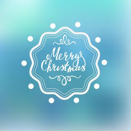 curle: Merry Christmas Lettering on a blured background with handdrawn design elements.