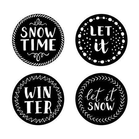 let it snow: Let it snow Christmas Icons.  modern brush lettering and calligraphy.  design elements.