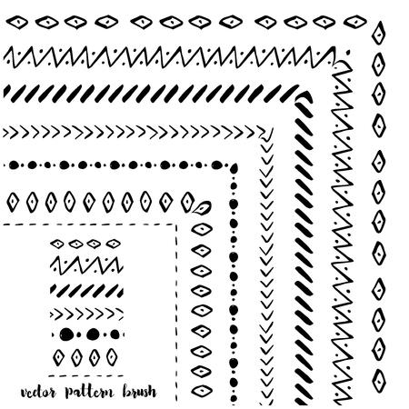 手には、装飾的なパターン ブラシが描画されます。インクの図