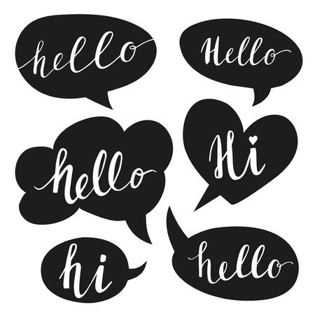 hello heart: Speech bubbles with Hello word. Illustration