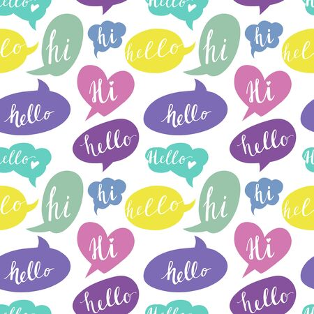 hi: Speech bubbles with Hello and Hi words. Seamless Pattern.