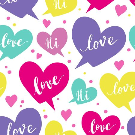 Romantic concept seamless pattern with colorful speech bubbles and  words