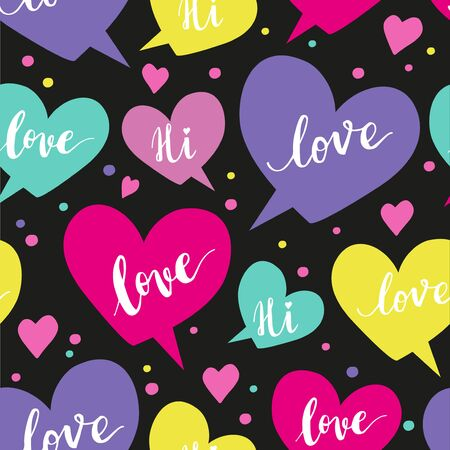 WRAP: Romantic concept seamless pattern with colorful speech bubbles and  words on black background Illustration