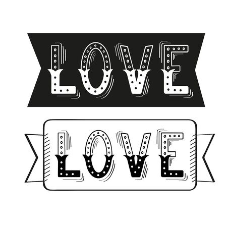 handwritten: Set of Love hand lettering with design elements