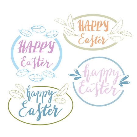phrases: Hand written Happy Easter phrases .Greeting card text templates with design elements isolated on white