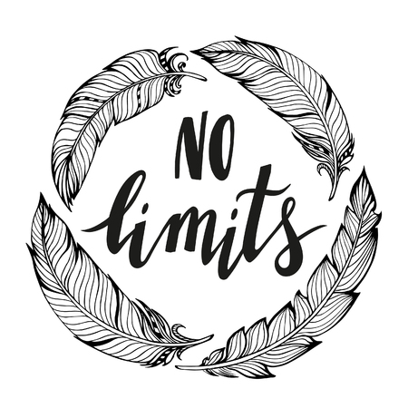 lifestyle: No limits handdrawn phrase with boho design elements. Hand lettering poster.