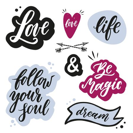 Set of handwritten words and phrases with hand drawn design elements. Ilustração