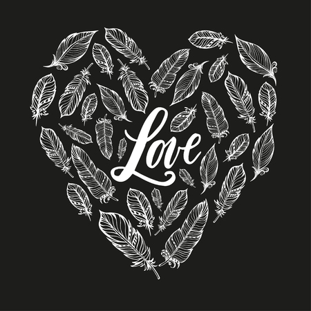 Typography poster with love lettering and feathers forming a heart vector