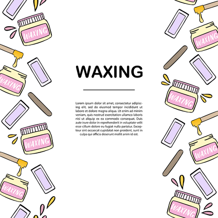 Banner template with waxing and hair removal illustration. Vettoriali