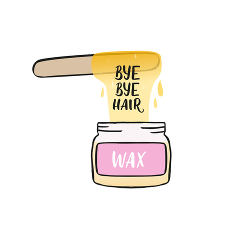 Hair removal hand drawn illustration. Waxing vector color illustration.