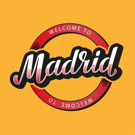 Welcome to Madrid lettering vector illustration. Çizim