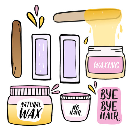 Hair removal hand drawn illustration. Waxing vector color illustration isolated on white.
