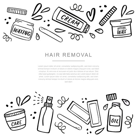 Hair removal banner with place for your text with symbols of hair depilation and waxing