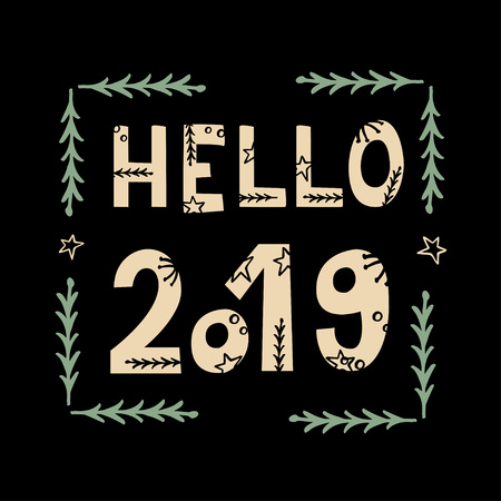 Hello 2019 greeting card with hand lettering on black background 写真素材