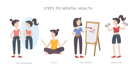 Mental health care vector illustration. Girl improving her mental health. Steps to mental health. Set of infographic elements.