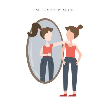 Vektorillustration der Selbstakzeptanz. Junge Frau beobachtet ihr Spiegelbild im Spiegel und zeigt den Daumen Vektorgrafik