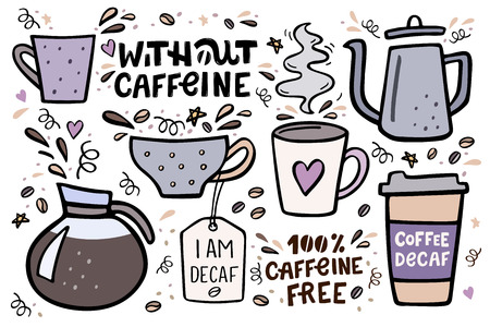 Coffee big set vector handdrawn illustration with handlettering. Decaffeinated coffee, pots and cups vector illustration with design elements.
