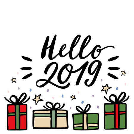 Christmas gifts and Hello 2019 lettering greeting card. Hand drawn vector illustration.