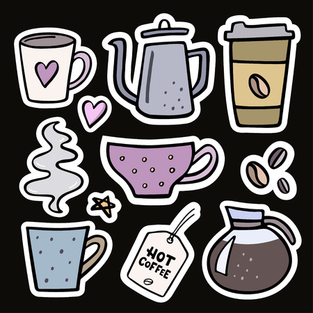 Coffee big set handdrawn stickers. Vector illustration of coffee cup, coffee pot, coffee beans and design elements Imagens - 109985188