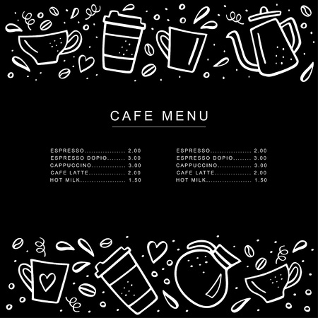 Chalkboard cafe menu with coffee cups and coffee pods in doodle style. Handdrawn vector illustration. Menu or banner template