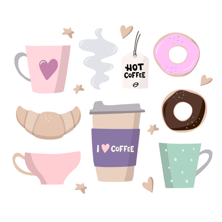 Coffee big set illustrations. Coffee to go, coffee cups and sweets. Handdrawn vector illustration