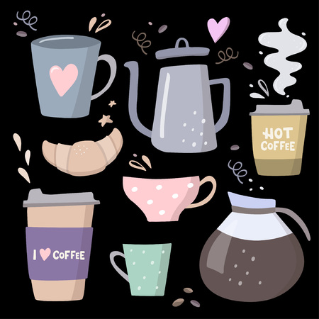 Coffee big set illustrations. Coffee to go, coffee pots, cups and design elements, Handdrawn vector illustration on black background