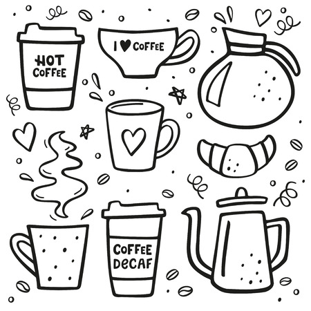 Coffee doodle big set. Coffee to go, coffee pots, cups, sweets and design elements. Handdrawn vector illustration