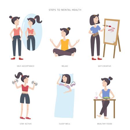 Psychische Gesundheitspflege-Vektorillustration. Mädchen, das ihre geistige Gesundheit verbessert. Schritte zur psychischen Gesundheit. Große Menge an Infografik-Elementen. Vektorgrafik