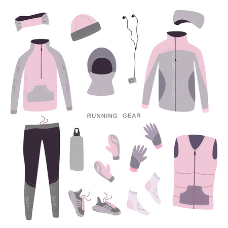 Winter running gear. Set of womens winter clothes and accessories for running. Vector hand drawn illustration.