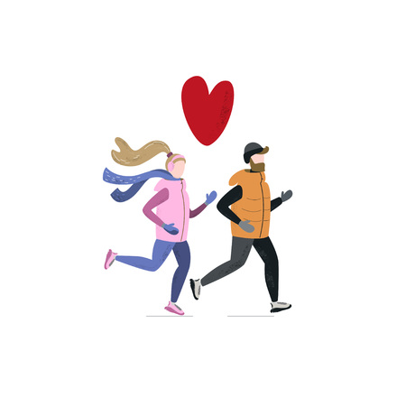 Young woman and man running together in winter cold season wearing winter running clothes. Handdrawn vector illustration 写真素材 - 126930420