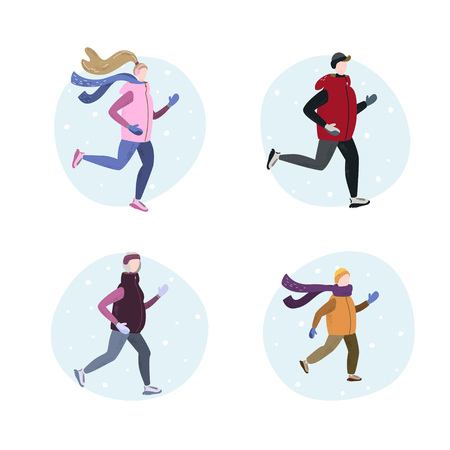 Set of people running in winter cold season wearing winter running clothes. Man, woman, child, old woman. Handdrawn vector illustration